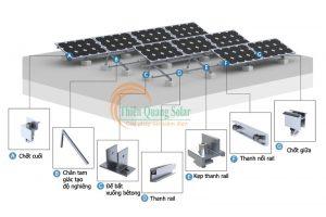 Khung giá đỡ tấm pin năng lượng mặt trời mái bê tông